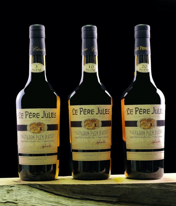 Calvados Pere Jules trio 3 10 20 jaar
