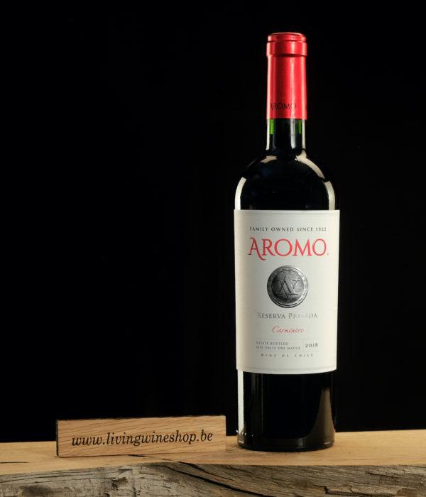 Wijn-Aromo-Carmenere-Private-Reserva-rood-Chili-fles